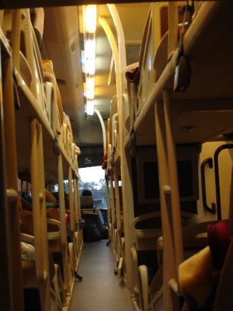 The inside of the sleeper bus