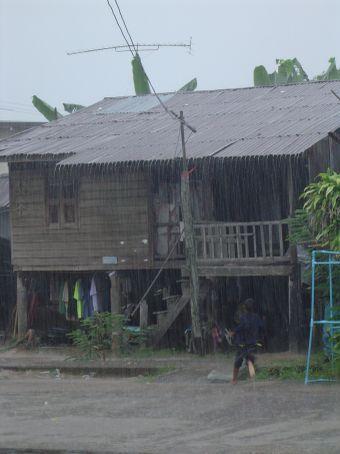 Das Haus gegenueber im tropischen Regen.