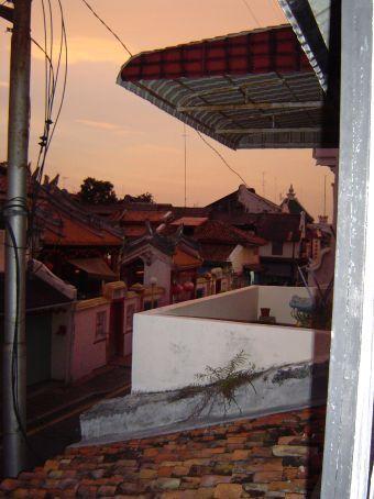Chinatown mit chinesischem Tempel in Melaka.
