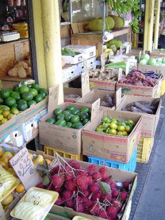 Ein Fruchtstand in Chinatown.