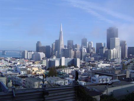 Downtown San Francisco vom Aufstief auf den Russian Hill gesehen.