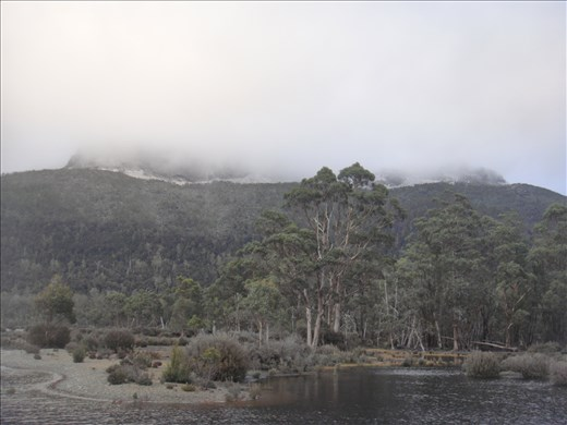 Snow topped Mt. Olympus at Lake St-Clair (deepest lake Down Under at 175m)