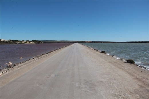Two different colors of water, road to Cactus Beach, SA