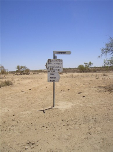 Signage for the oil and gas workers, Innamincka Regional Reserve, SA