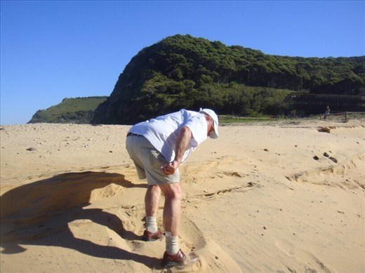 Pat struggling up a little dune, Garie beach, Royal NP, NSW.