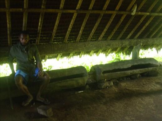 Luke sitting on tamtams, Lombaha, Ambae.
