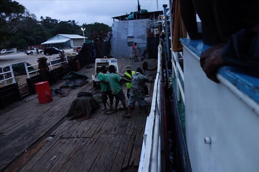 Getting the ship ready to go to Ambae, Luganville, Espiritu Santo.