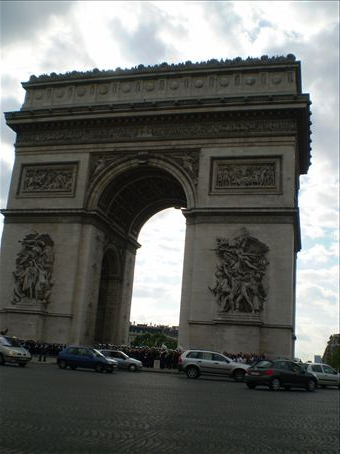 We climbed to the top of the Arc de Triomphe, after we had walked from the Louvre and before we went to the Eiffel Tower - slept well that night!