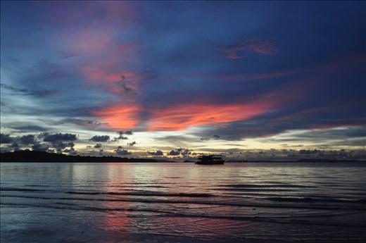 Sunset on Preah Sihanouck beach, Cambodia