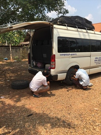The flat tyre that caused chaos.