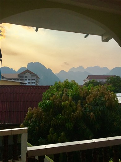 Our balcony view. Vang Vieng, Laos.