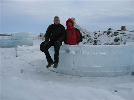 A bar made out of ice on a very frozen Lake Baikal.