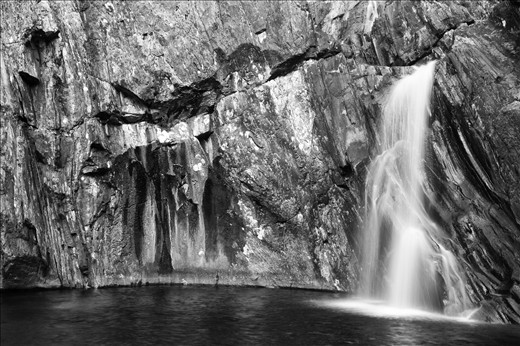 One stage of a three tiered waterfall we stumbled upon. The beauty of Knoydart is that you find amazing features all by yourself. Water cascaded over old bare rocks, so many different tones of silver and black. Before pitching up tent we just sat and watched as water gushed over the rocks and into the pool below, as it has done for years, whether there's anyone there to marvel at it or not.