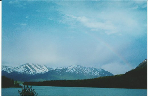 Funny that even rainbows can't steal the thunder away from mountains and water in Alaska.