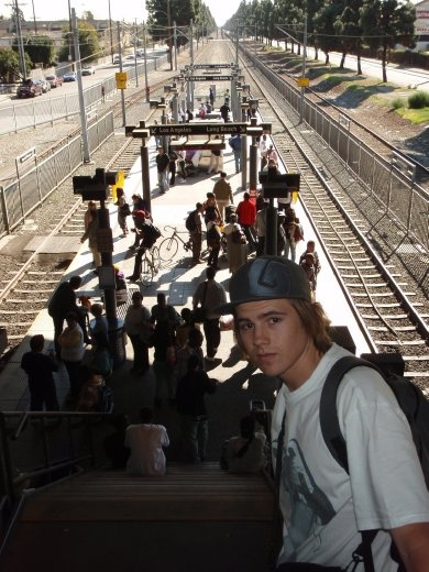 Catching the train in Inglewood. The only white faces in the crowd Eeek!