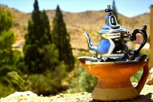 Moroccan tea over the hills of Kerdouss (near Tafraout)