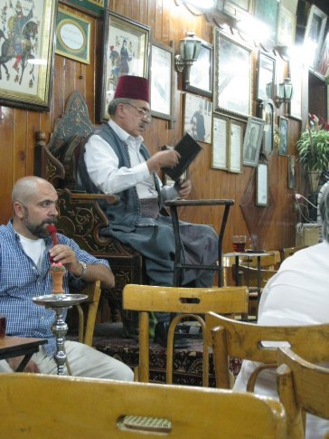 Abu Shady, the last storyteller in Damascus. Each night he spins a story on this seat. Very entertaining.