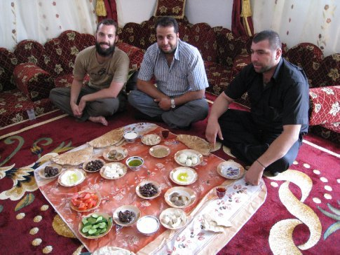 After spending the night with this family, we sat down to a gourmet Syrian breakfast. Priceless.