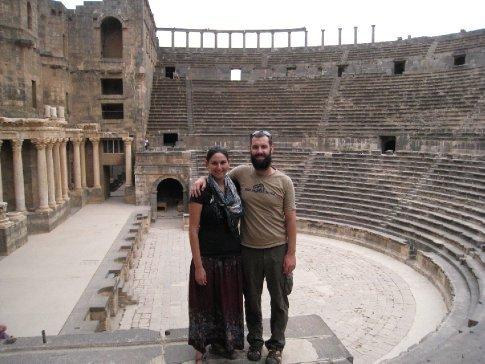 Inside 25,000 seat Roman Theater in Bosra