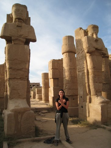 Posing with the Pharaohs at Karnak Temple.