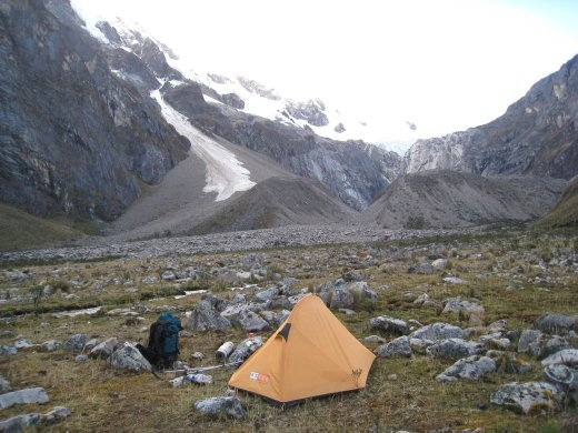 This is my camping spot on the second night. The most beautiful peak in the world, Alpamayo, is hiding behind the clouds in the centre of the picture. All night I could hear chunks of the glacier crashing down to the valley floor.