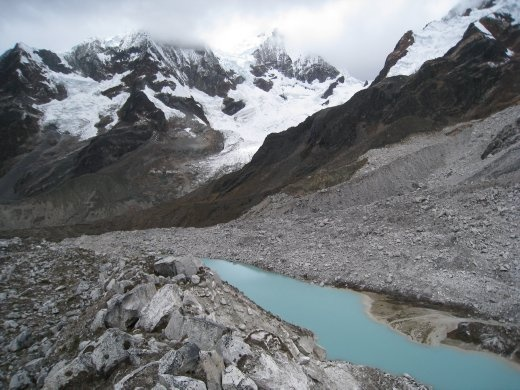 Another view from 5100m over a glacial lake .