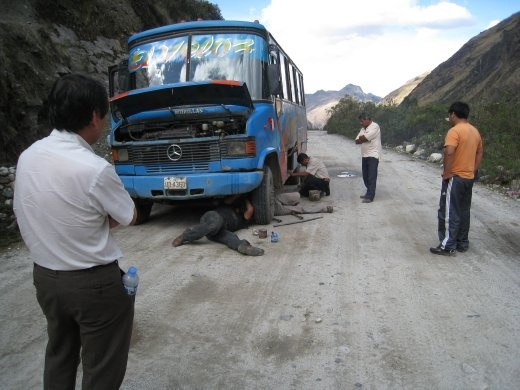 After about 5 hours on the bus trip back to Huaraz, we came across some mechanical issues. The steering had snapped. We were here for an hour while the driver fiddled with rusty metal.