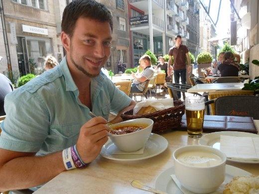 Tegan enjoyed his bowl of Hungarian Goulash