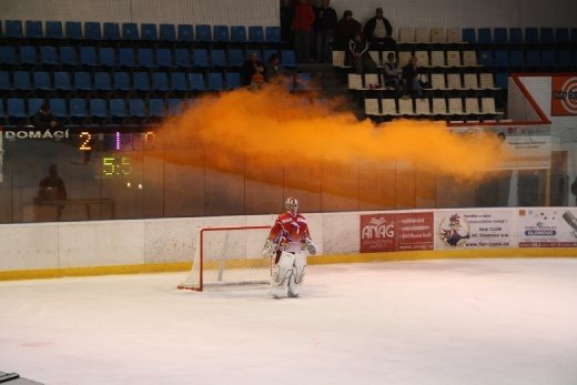 Ice Hockey - yes someone let off a flare.