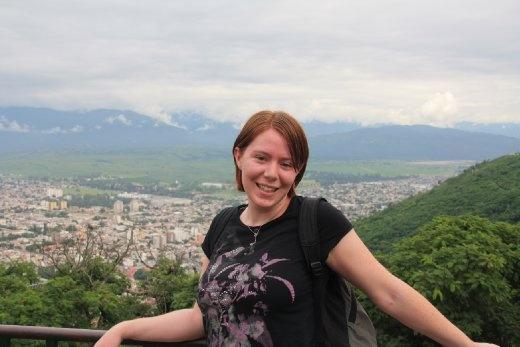 Ingrid after climbing 1070 steps up San Bernardo Mountain