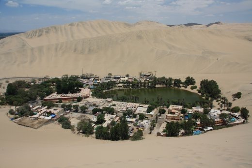 Looking down at Huacachina from the dunes