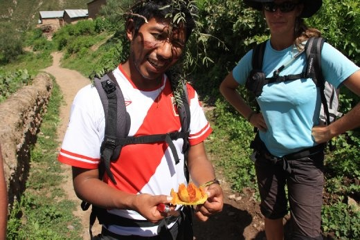 Our guide Juanito with some cactus fruit