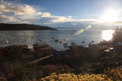Our view of Lake Titicaca from Las Olas Guesthouse