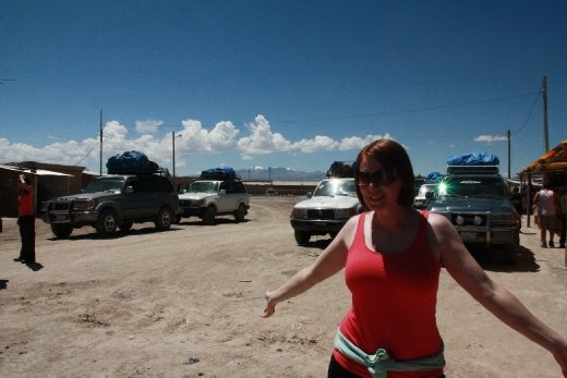 Ingrid with the army of Jeep tours
