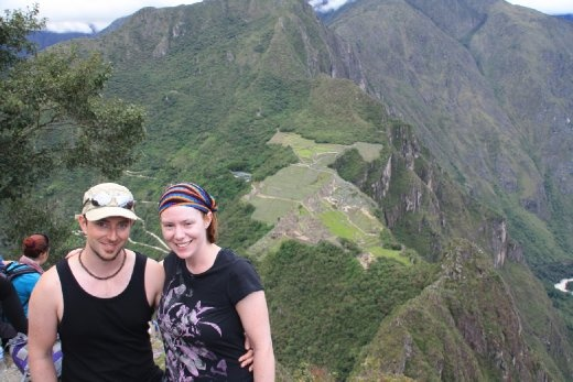 Us at the top of Huayna Picchu with Machu Picchu below us