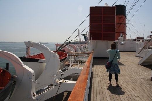 On deck of the Queen Mary