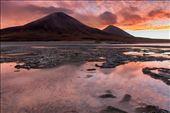 Vulcanos Juriques and Licancabur as seen from Laguna Blanca border at sunset : by tommasorenzi, Views[148]