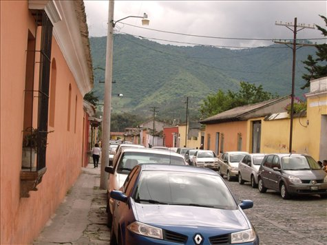 Cobblestone streets and low level biulding Antigua