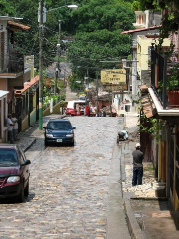 Steep cobbled streets in Copan