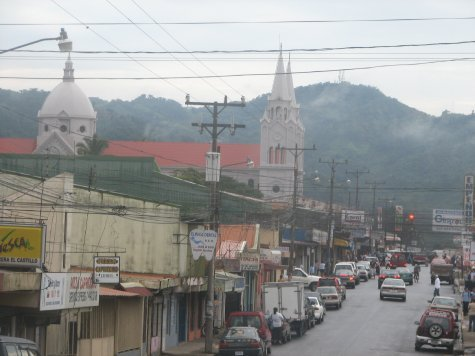 Main street San Remon with the cathedral and nearby hills