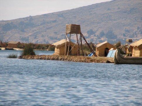 Uros floating reed island on Lake Titicaca