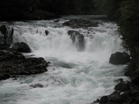 Roaring rivers croos under the road