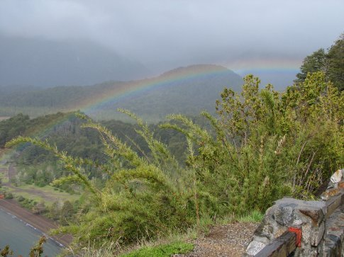 Rainbow over lake on the road to Bariloche