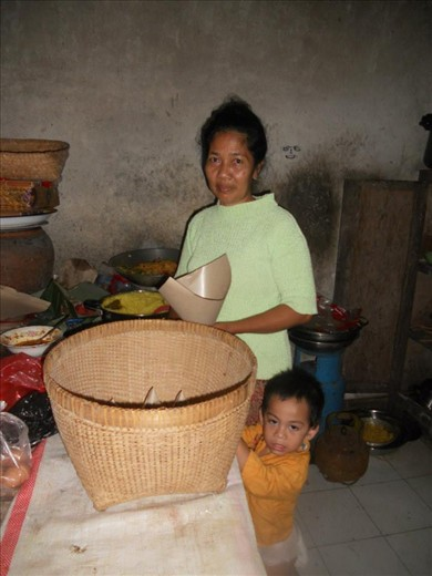 Ibu (woman) who served us Nasi Kuning (Yellow Rice) at 3am in Ubud