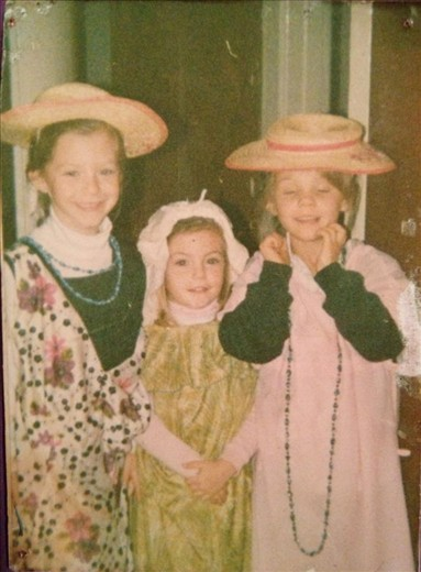 Me, my sister and a friend aged 8 dressing up to sing Italian songs for Choir
