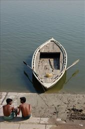 Away from the chaos and crowds, two young men sit on the ghats engrossed in conversation.: by tracystravels, Views[100]