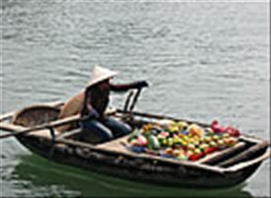 Young boat seller at Halong Bay- Life is so normal.