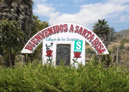 The welcome to Santa Rosa sign in front of the town