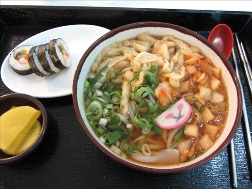 Kimchi udon soup and sushi