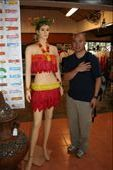 Ryan with a mannequin dressed in a condom bikini at Cabbages and Condoms! restaurant: by traveling_jungs, Views[2190]